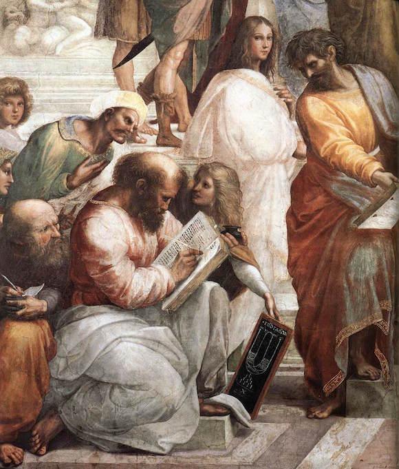 """Ausschnitt aus """"Schule von Athen"""" von Raffael (Vatikanische Museen)"""